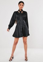 Missguided Black Button Down Pussy Bow Satin Mini Dress
