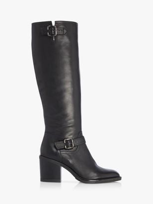 Dune Trelis Leather Double Buckle Block Heel Knee High Boots