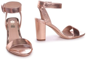 Linzi Millie Rose Gold Metallic Open Toe Block Heels With Ankle Strap And Buckle Detail