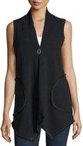 Neiman Marcus Sleeveless Handkerchief Hem Vest, Charcoal
