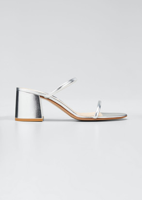 Gianvito Rossi 60mm Metallic Leather Block-Heel 2-Strap Slide Sandals