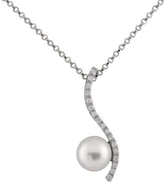 Splendid Pearls 14K .06Ct. Tw. Diamond 7-7.5Mm Japanese Akoya Pearl Pendant