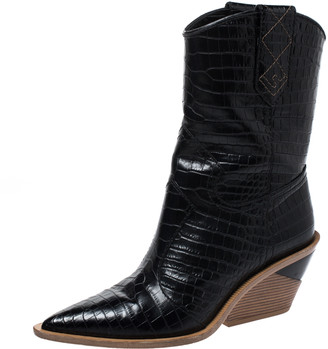 Fendi Black Croc Embossed Leather Cowboy Boots Size 38