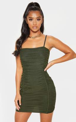 PrettyLittleThing Petite Black Strappy Ruched Front Mini Dress