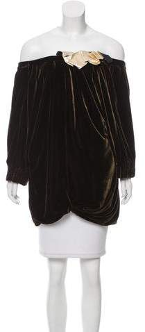 Marc Jacobs Leather-Accented Velvet Top