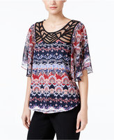 NY Collection Illusion Printed Flutter-Sleeve Top