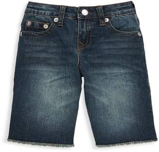 True Religion Boy's Slim Single Frayed Hem Shorts