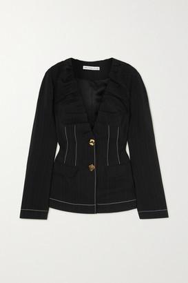REJINA PYO Dana Topstitched Pleated Woven Jacket - Black