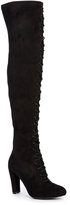 Wild Diva Black Amaya Lace-Up Over-the-Knee Boot