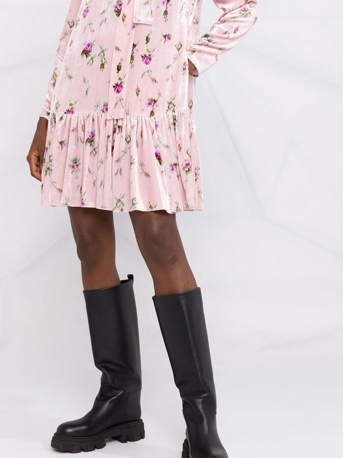Thumbnail for your product : RED Valentino Floral-Print Pussy-Bow Minidress