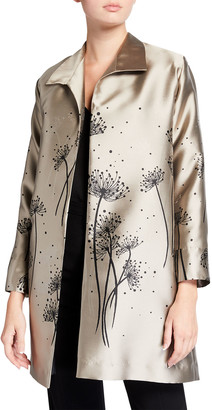 Caroline Rose Petite Fall In Bloom Jacquard Long Jacket