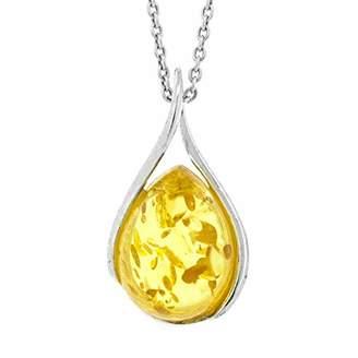 Nova Silver Lemon Amber Twist Pendant on 18 inch (46cm) Silver Chain in presentation box