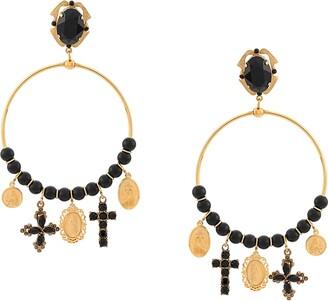 Dolce & Gabbana Drop Pendant Hoop Earrings