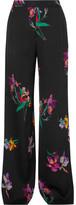 Etro Printed Satin-crepe Wide-leg Pants - Black