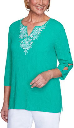 Alfred Dunner Women's Blouses GREEN - Green Embroidered Three-Quarter Sleeve Top - Women, Petite & Plus