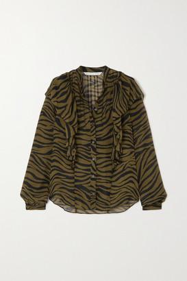 Veronica Beard Camilla Ruffled Zebra-print Silk Crepe De Chine Blouse - Army green