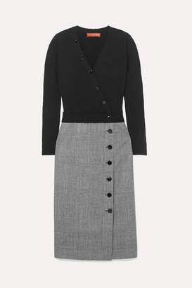 Altuzarra Stamford Wool And Prince Of Wales Checked Wool-blend Dress - Black