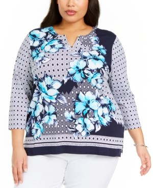 Alfred Dunner Plus Size Easy Street Printed Split-Neck Top