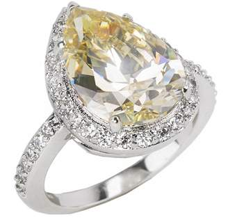 Kenneth Jay Lane CZ By Prong Set Pear Cut CZ & Pave Halo Ring
