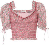 LoveShackFancy Tilly Cropped Floral-Print Cotton-Voile Top