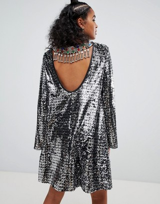 Ragyard swing dress in sequin with gemstone back trim