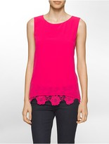 Calvin Klein Crepe Lace Trim Sleeveless Top