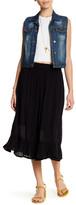 Bobeau Solid Ruffle Hem Skirt (Petite)