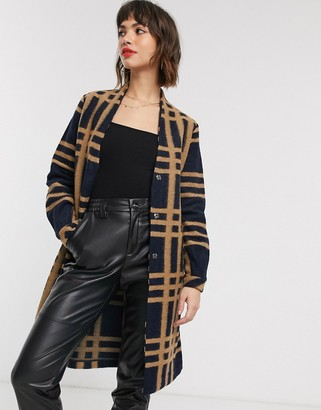 B.young checked belted coat