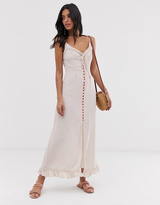 Lost Ink cami maxi dress with contrast button front-Pink