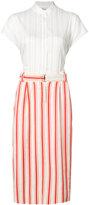 Michel Klein belted stripe midi skirt - women - Cotton - 36