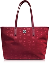 MCM Medium Ruby Tan Nylon Top Zip Dieter Monogrammed Shopping Bag