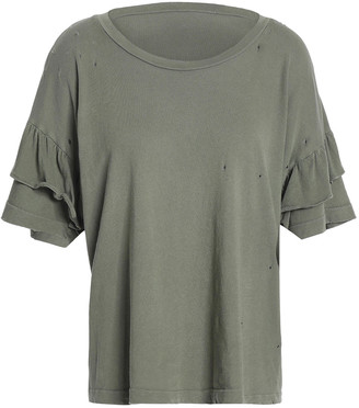 Current/Elliott Distressed Cotton-jersey Top
