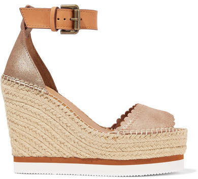 See by Chloe Metallic Leather Espadrille Wedge Sandals - Gold