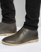 Asos Desert Boots In Grey Leather
