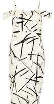River Island Womens White abstract print bardot bodycon dress