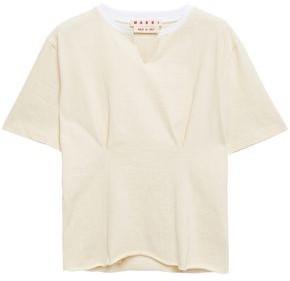 Marni Appliqued Gathered Slub Cotton-jersey T-shirt