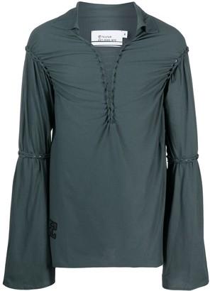 Telfar Gathered-Sleeve Cotton Shirt