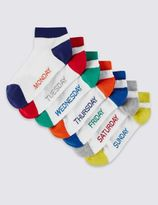 Marks and Spencer 7 Pairs of FreshfeetTM Cotton Rich Days of the Week Trainer Liner Socks (5-14 Years)