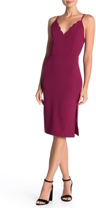 Socialite Scallop Trim Bodycon Dress