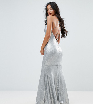 TFNC Petite Allover Sequin Maxi Dress With Strappy Back