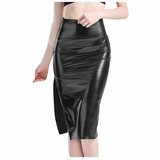 Younthone Women's Slim Hip Skirt Solid Color Sexy Split High Waist Midi Skirt Office Professional Skirt Everyday Casual Skirt Cocktail Prom Evening Party Elegant Lady(Black XXL)