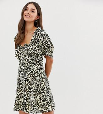 Asos Tall DESIGN Tall sweetheart mini dress in leopard print-Multi