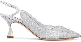 Casadei Glittered 75mm Pointed Pumps