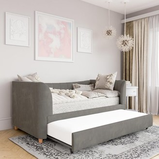 Little Seeds Valentina Upholstered Daybed with Trundle, Twin Size, Gray Velvet