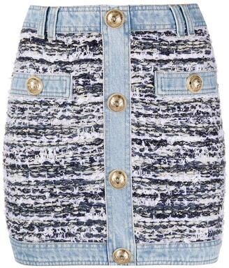 Balmain Tweed Denim Mini Skirt