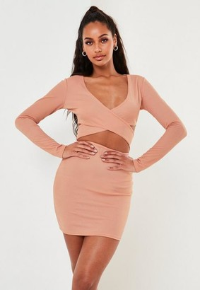 Missguided Pink Cut Out Wrap Front Long Sleeve Mini Dress