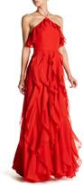 Kay Unger Ruffle Popover & Drapery Dress