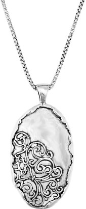 Or Paz Sterling Silver Oval Lace Pendant with Chain
