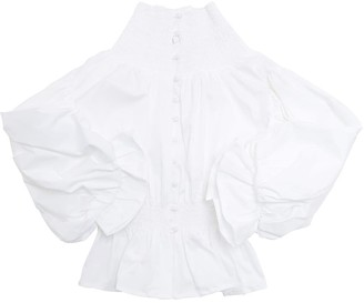 Nikolia Stretch High Collar Cotton Poplin Shirt