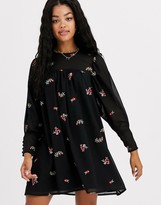 Asos Design DESIGN smock mini dress with all over embroidery